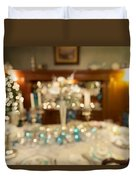 Christmas Holiday Dinner Table Decoration Blurred Duvet Cover