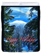 Christmas Holidays Scenic Snow Covered Mountains Looking Through The Trees  Duvet Cover