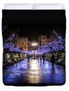 Christmas Lights In Gijon Duvet Cover
