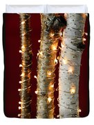 Christmas Lights On Birch Branches Duvet Cover by Elena Elisseeva