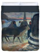 Christmas Night Blessing Of The Oxen Duvet Cover