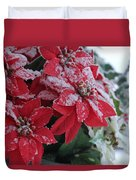 Christmas Poinsettia Flowers Duvet Cover