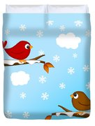 Christmas Red Cardinal Bird Pair Winter Scene Duvet Cover