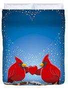 Christmas Red Cardinal Twig Snowing Heart Duvet Cover