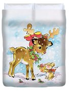 Christmas Reindeer And Rabbit Duvet Cover