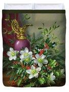 Christmas Roses Duvet Cover by Albert Williams
