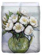 Christmas Roses Duvet Cover by Gillian Lawson