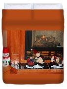 Christmas - Snowmen Collection- Fireplace Duvet Cover