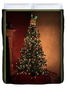 Red And Gold Christmas Tree Without Caption Duvet Cover