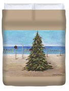 Christmas Tree At The Beach Duvet Cover