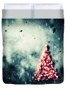 Christmas Tree Glowing On Winter Vintage Background Duvet Cover