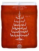 Christmas Tree Patent From 1882 - Red Duvet Cover