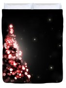 Christmas Tree Shining On Black Background Duvet Cover