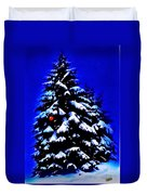 Christmas Tree With Red Ball Duvet Cover