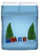 Christmas Trees With Red And Blue Presents Duvet Cover