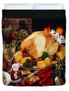 Christmas Turkey Dinner With Wine Duvet Cover by The Irish Image Collection