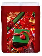 Christmas Wrap With Heart Ornament Duvet Cover