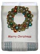 Christmas Wreath And Vintage Bulbs Duvet Cover