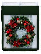 Christmas Wreath Greeting Card Duvet Cover