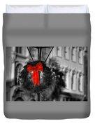 Christmas Wreath In Charleston Duvet Cover