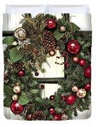 Christmas Wreath On Black Door Duvet Cover