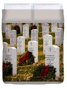 Christmas Wreaths Laid At The Arlington Cemetery Duvet Cover