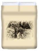 Christmasgift Under The Tree In Sepia Duvet Cover