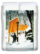 Christo - The Gates - Project For Central Park In Snow Duvet Cover