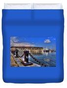 Christopher Columbus Park Waterfront Duvet Cover by Joann Vitali