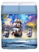 Christopher Columbus's Fleet  Duvet Cover