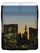 Chrysler And Un Buildings Sunset Duvet Cover