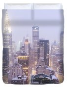 Chrysler Building And Skyscrapers Covered In Snow - New York City Duvet Cover