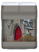 Church And The Red Door Duvet Cover