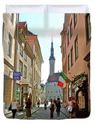 Church At End Of Street In Old Town Tallinn-estonia Duvet Cover