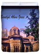 Church In Beautiful Athens Duvet Cover