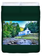 Church In The Mountains By The River Duvet Cover