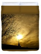 Church Steeple Clouds Parting Duvet Cover