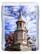 Church Steeple In Autumn Blue Sky Clouds Fine Art Prints As Gift For The Holidays Duvet Cover