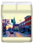 Church Street In Winter Melting Snow Sunset Reflections Montreal Urban City Landscape Scene Cspandau Duvet Cover