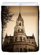 Church Towere In Sepia 1 Duvet Cover