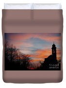 Church With Orange Sky Duvet Cover