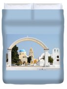 Churches Oia Santorini Greek Islands Duvet Cover