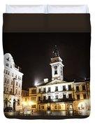 Cieszyn Town Center At Night Duvet Cover