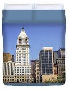 Cincinnati Downtown City Buildings Business District Duvet Cover
