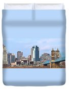 Cincinnati Panoramic Skyline Duvet Cover