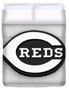 Cincinnati Reds Sign Black And White Picture Duvet Cover