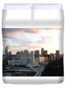 Cincinnati Skyline At Sunset Form The Top Of Mount Adams 2 Duvet Cover