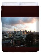 Cincinnati Skyline At Sunset Form The Top Of Mount Adams Duvet Cover