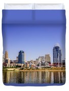 Cincinnati Skyline Riverfront Downtown Office Buildings Duvet Cover