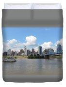 Cincinnati Skyline With A Boat Duvet Cover